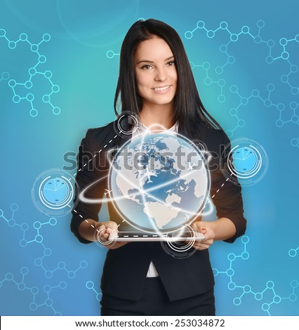 businesswoman with tablet pc control the world market finance. - stock photo