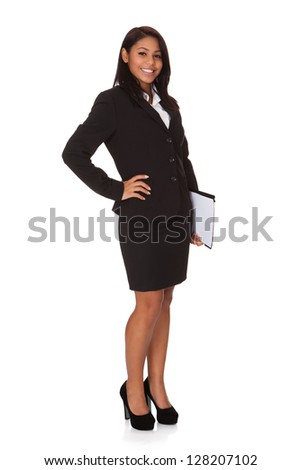 Businesswoman With The File. Isolated on white - stock photo