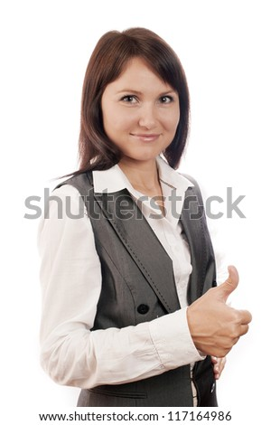 Businesswoman with thumb up sign, isolated on white, show all right - stock photo