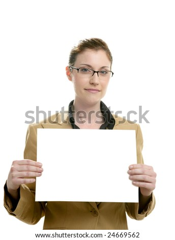 Businesswoman with white copy space sheet in her hands - stock photo