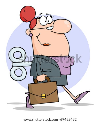 Businesswoman With Wind-up Key In His Back - stock photo
