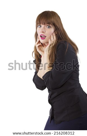 businesswoman with worried or excited expression on white background - stock photo