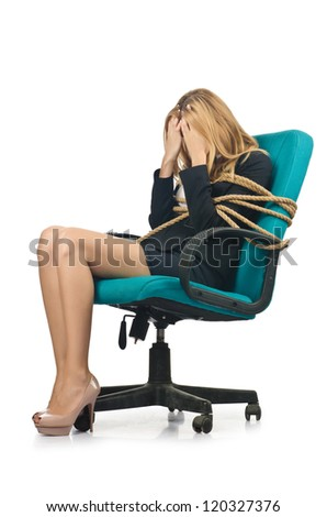 Businesswoman woman tied up with rope on white - stock photo