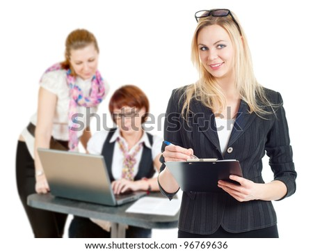 Businesswoman working office, white background - stock photo