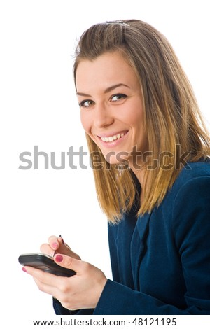 Businesswoman working on a mobile device with pen