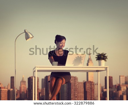 Businesswoman Working Outdoors New York Concept - stock photo