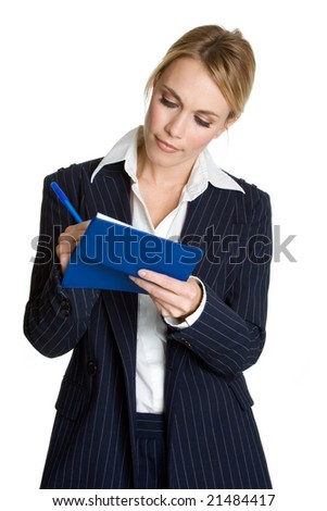 Businesswoman Writing Check - stock photo