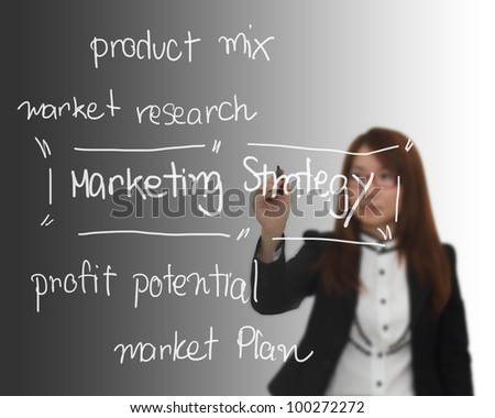 Businesswoman writing concept ; Marketing strategy