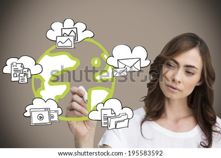 Businesswoman writing graphic against grey background with vignette - stock photo