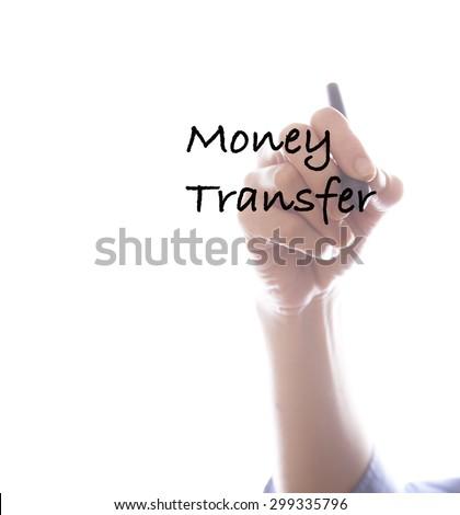 Businesswoman writing money transfer ,white background,business background - stock photo