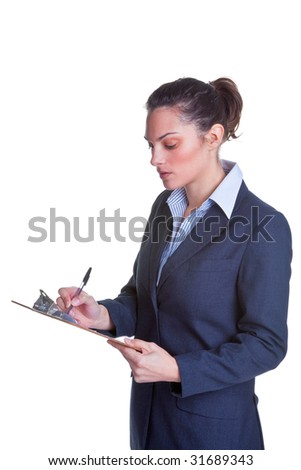 Businesswoman writing on a clipboard, isolated on a white background. - stock photo