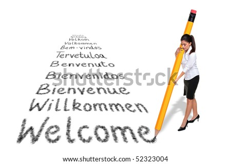 Businesswoman writing the word Welcome in various European languages with a giant pencil, isolated on a white background. - stock photo
