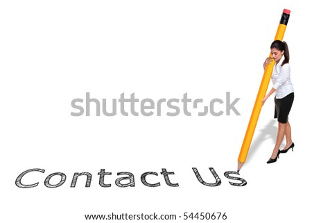 Businesswoman writing the words Contact Us with a giant pencil, isolated on a white background. - stock photo