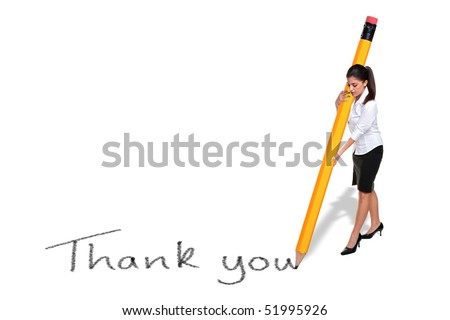 Businesswoman writing the words Thank you with a giant pencil, isolated on a white background. - stock photo