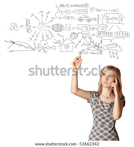 businesswoman writting something isolated on white background - stock photo