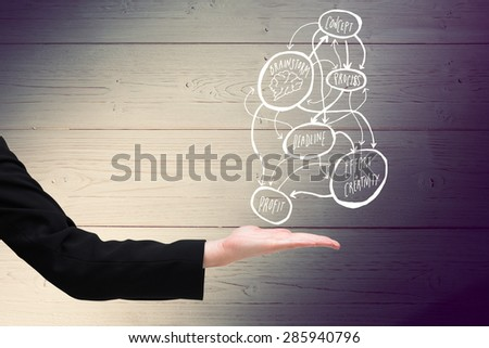 Businesswomans hand presenting against shadow on wooden boards - stock photo