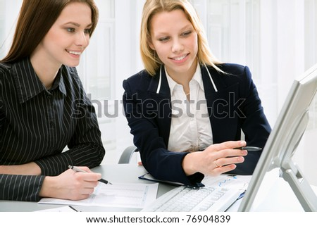Businesswomen colleagues working together