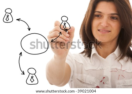 businesswomen drawing a social network scheme on a whiteboard (selective focus) - stock photo