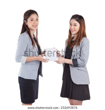 businesswomen giving a box to her on white background - stock photo