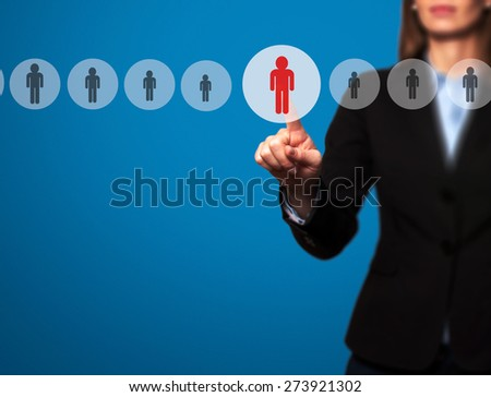 Businesswomen Hand select New Employee from Electronic interface using for Business technology, internet, networking, Recruitment and Workforce Concept. Isolated on blue. Stock Image - stock photo