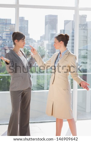 Businesswomen having a fight in a bright office - stock photo