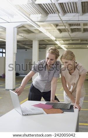 Businesswomen Looking at Laptop - stock photo
