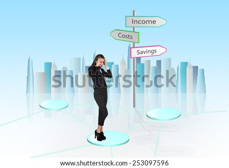 Busineswoman think near road-sign on light background - stock photo