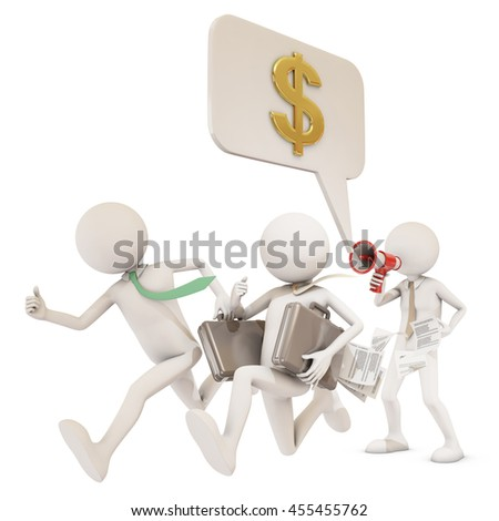 businness man giving orders with megaphone, 3d rendering