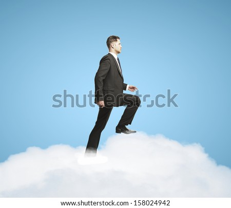 businnessman up stairs out of clouds - stock photo