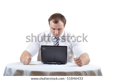 Busnissman and notebook - stock photo