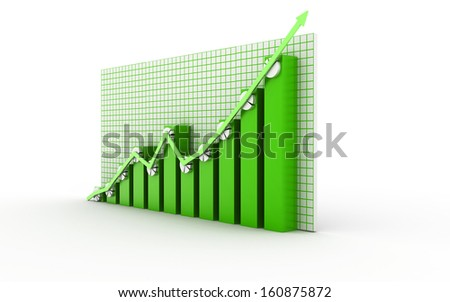 Bussiness Graph isolated on white background - stock photo