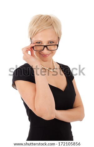 Bussineswoman with glasses isolated on white - stock photo