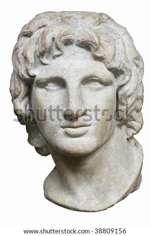 Bust of Alexander the Great in white marble isolated on white - stock photo