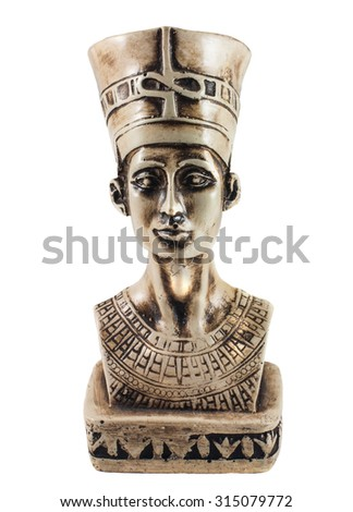 Bust of Queen Nefertiti isolated on white - stock photo