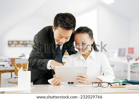 busy business people working digital tablet - stock photo
