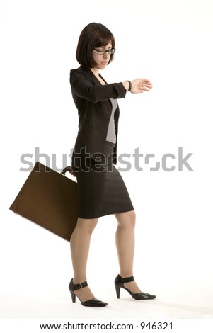 Busy business woman - stock photo