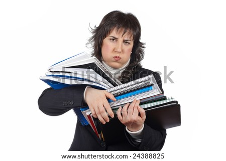 Busy business woman carrying stacked files over a white background - stock photo