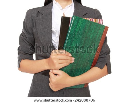 busy businesswoman carrying a lot of books, isolated on white background - stock photo