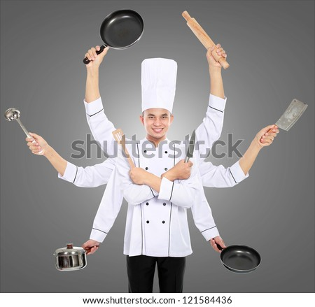 Busy chef concept with many hand on grey background - stock photo