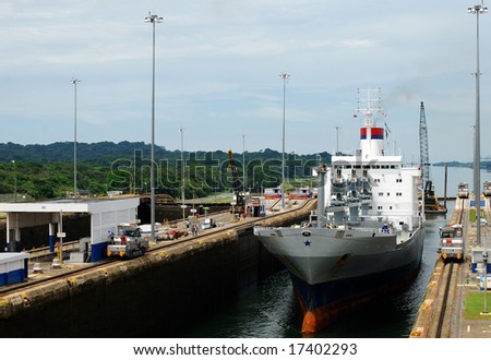 Busy day in Panama's Canal Gatun Locks. - stock photo
