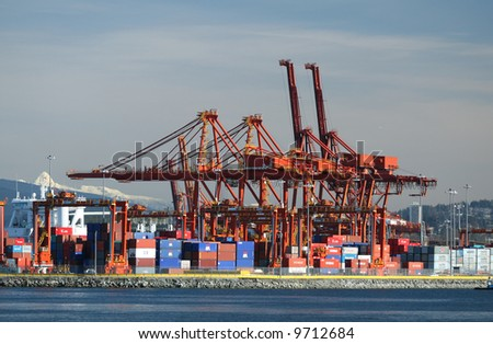 Busy Industrial Shipping Terminal in Vancouver - stock photo