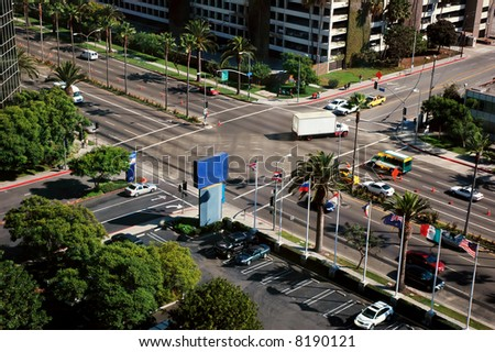 Busy intersection near LAX airport, Los Angeles, California - stock photo
