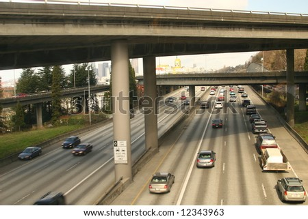busy interstate - stock photo
