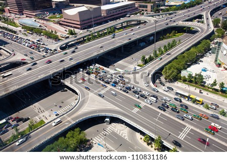 busy junction - stock photo