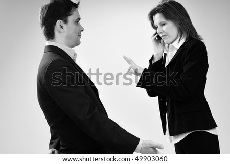 busy manager talking and angry boss - stock photo