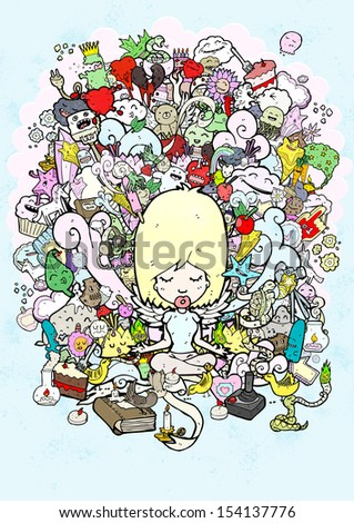 busy meditation illustration - stock photo