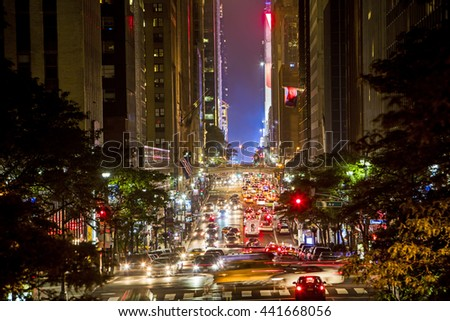 Busy 42nd Street traffic in New York - stock photo