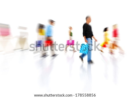Busy People Shopping at Rush Hour - stock photo
