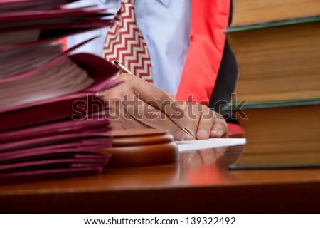 Busy Senior Judge - stock photo