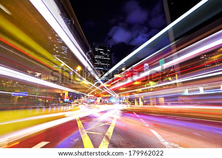 Busy traffic in city - stock photo